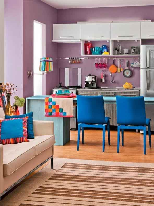 Colorido na decoração da cozinha 017