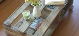 Mesinha para salas de estar feitas de paletes e caixotes de feira