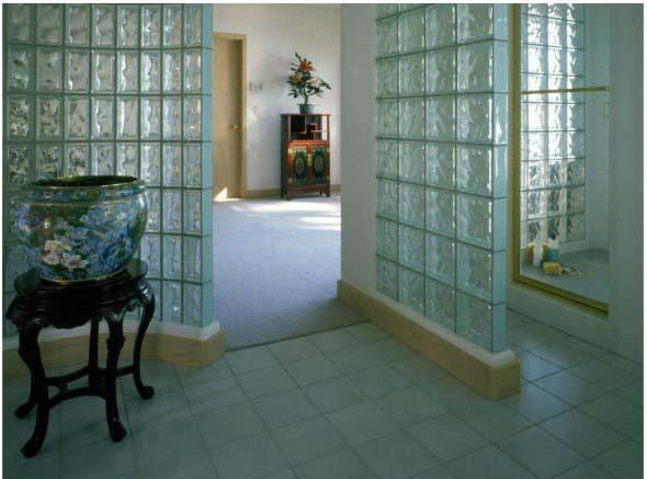 Paredes com tijolos de vidro 003
