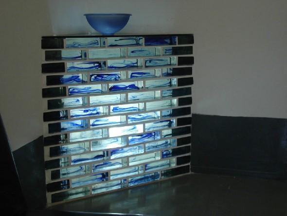 Paredes com tijolos de vidro 007