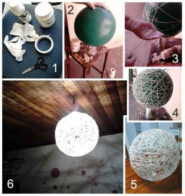 DIY - Como fazer uma luminária de barbante 009