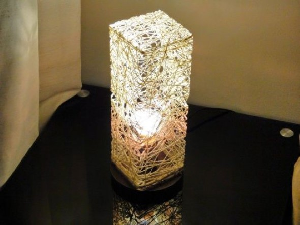 DIY - Como fazer uma luminária de barbante 013