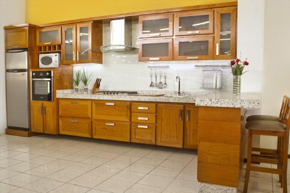 #474315 Dicas para usar madeira na decoração da cozinha 590x393 px Armario De Cozinha Em Madeira Rj #3008 imagens