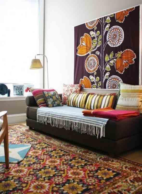 Como decorar a casa com tapetes nas paredes 006