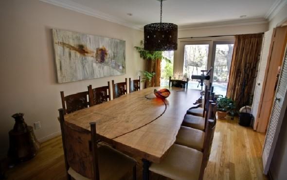 Mesa rústica na decoração da sala de jantar 001