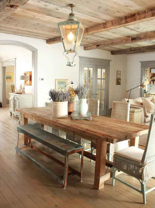 Mesa rústica na decoração da sala de jantar 006