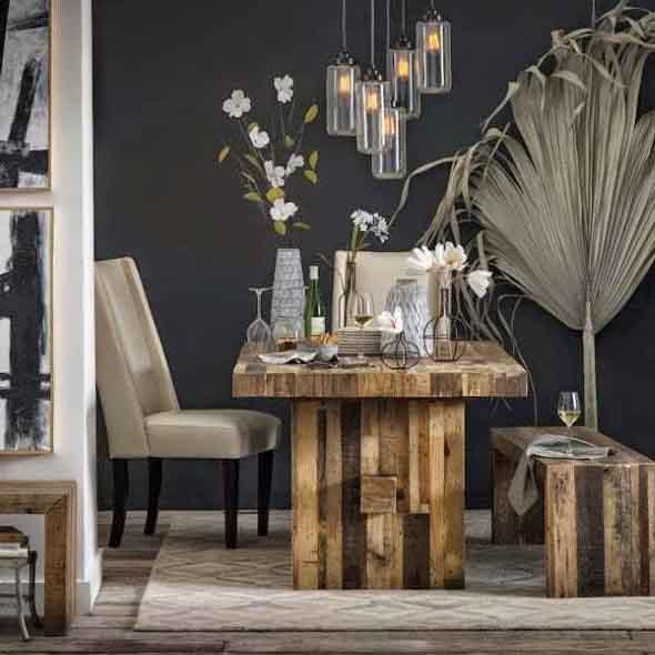 Mesa rústica na decoração da sala de jantar 016