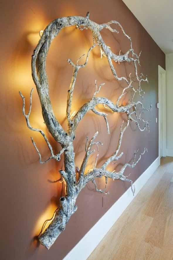 Luminárias e pendentes de galhos secos 014