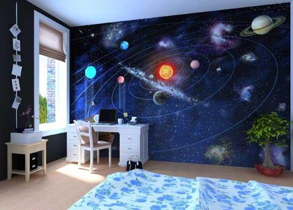 Decoração inspirada em planetas e galáxias 009