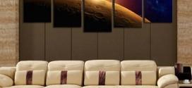 Decoração inspirada em planetas e galáxias
