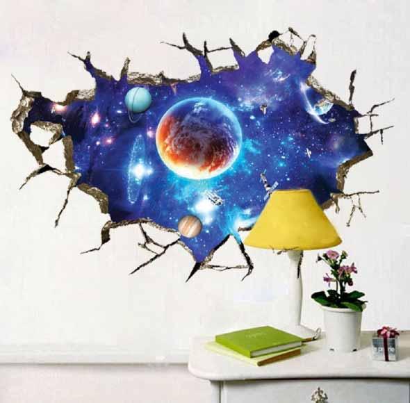 Decoração inspirada em planetas e galáxias 012