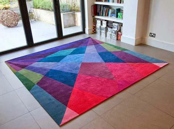 Tapetes coloridos na decoração 014