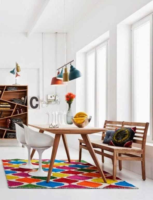 Tapetes coloridos na decoração 018