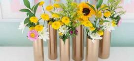 Vasos criativos com materiais reciclados