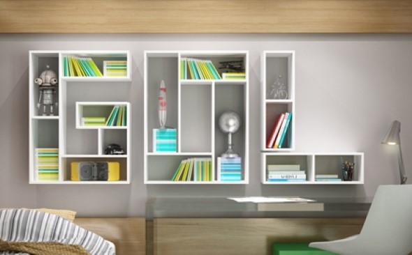 Modelos de estantes em forma de letra 010