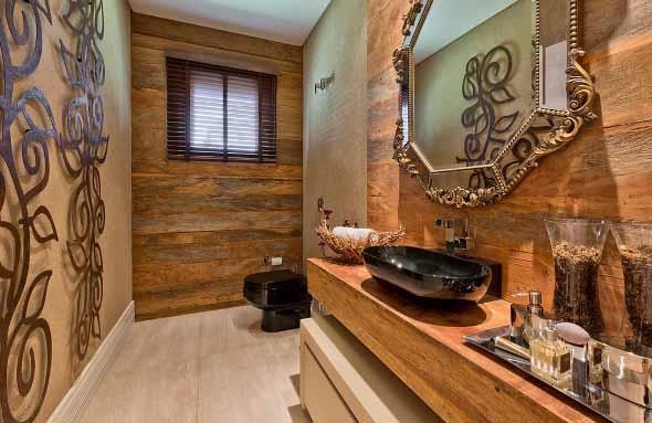 Madeira rústica na decoração do banheiro 004
