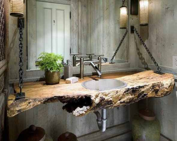 Madeira rústica na decoração do banheiro 008