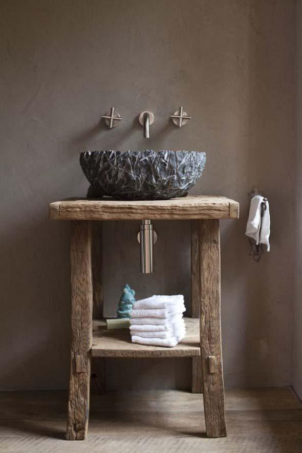 Madeira rústica na decoração do banheiro 016