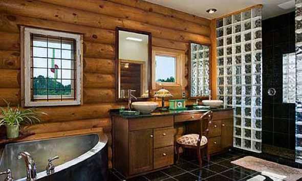 Madeira rústica na decoração do banheiro 018