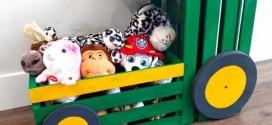 Caixotes de feira no quarto das crianças
