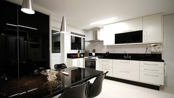Dicas para decorar cozinhas preto e branco 001