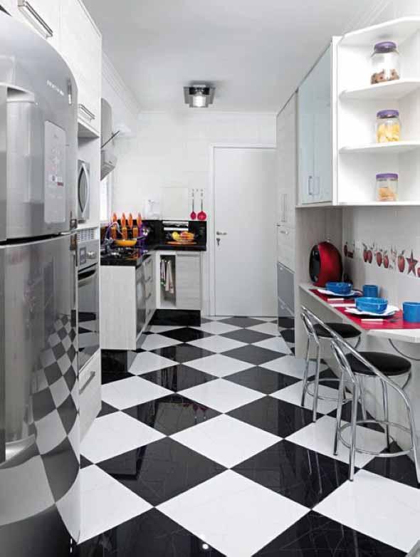 Dicas para decorar cozinhas preto e branco 008