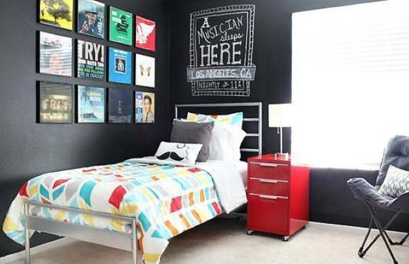 Usar tinta lousa na decoração do quarto 007