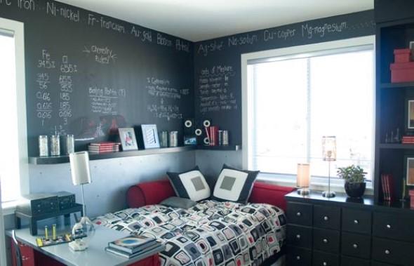 como pintar o quarto com tinta lousa. Black Bedroom Furniture Sets. Home Design Ideas