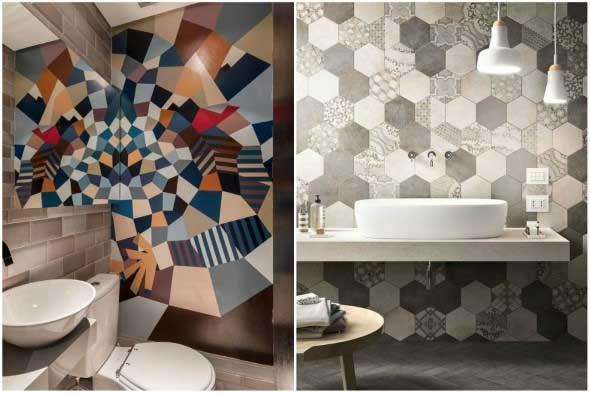Papel de parede geométrico na decoração 005