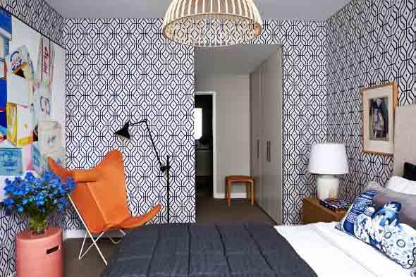 Papel de parede geométrico na decoração 016