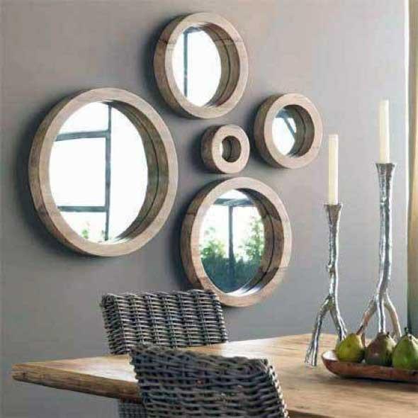 Modelos de espelhos redondos na decoração 008