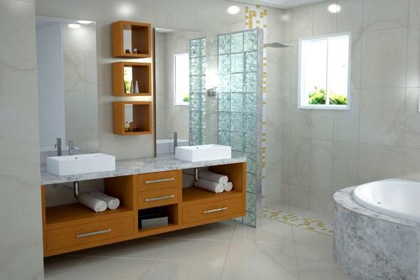 Tijolos de vidro na decoração do banheiro 010