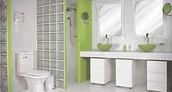 Tijolos de vidro na decoração do banheiro 013