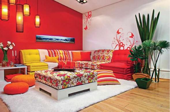 Decorar a sala com tons laranjas e vermelhos 004