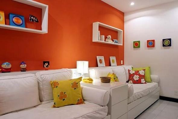 Decorar a sala com tons laranjas e vermelhos 011