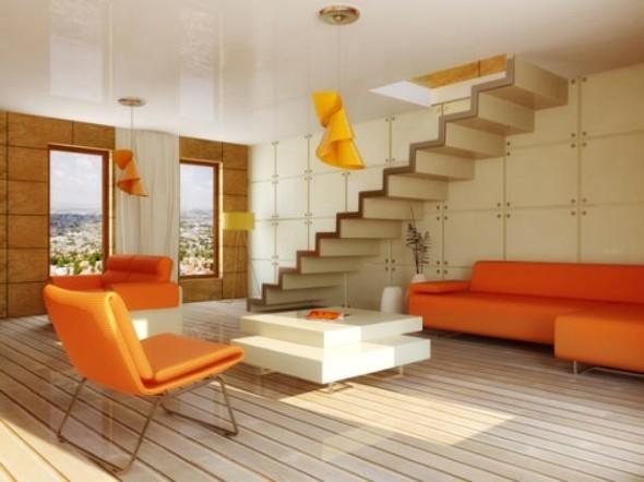 Decorar a sala com tons laranjas e vermelhos 014