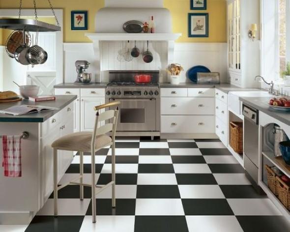 Manta vinílica decorando uma cozinha.