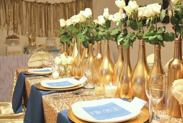 Decoração para festa de bodas de ouro 004