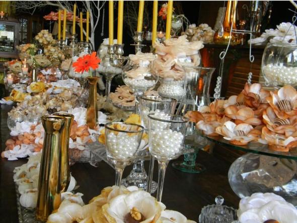 Decoração para festa de bodas de ouro 013