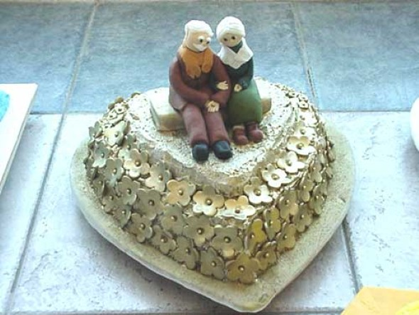 Decoração para festa de bodas de ouro 015
