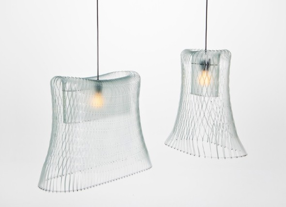 Luminária pendente de material reciclado 003