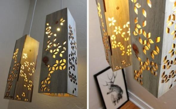 Luminária pendente de material reciclado 004