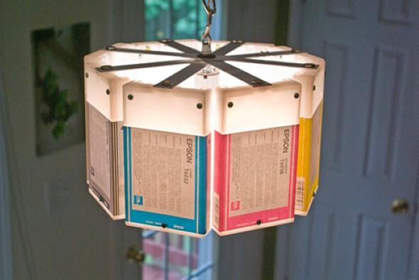 Luminária pendente de material reciclado 014