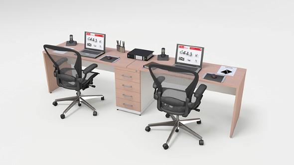Mesa de trabalho dupla para escritório 002