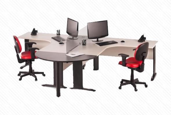 Mesa de trabalho dupla para escritório 004