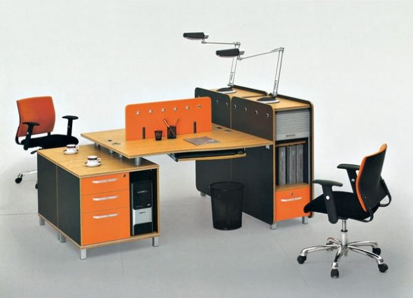 Mesa de trabalho dupla para escritório 006