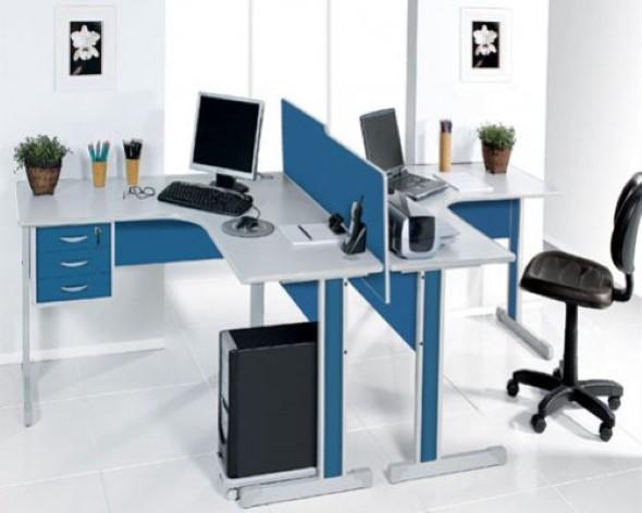 Mesa de trabalho dupla para escritório 008
