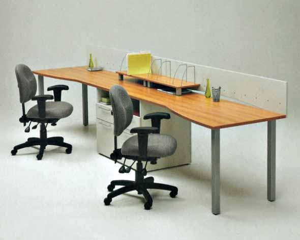 Mesa de trabalho dupla para escritório 015