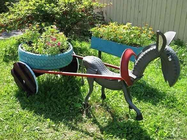 materiais reciclaveis para enfeite de jardim 2