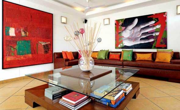 Decorar a sala de estar com quadros 001